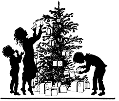 free image christmas tree trimming silhouette amybarickman