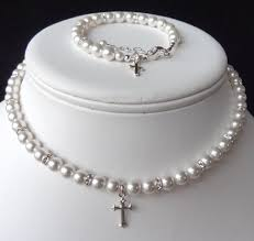 communion jewelry swarovski pearl and rondelle with cross necklace bracelet