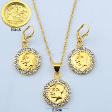 necklace earrings chain images Gold coin set pendant necklace chain earrings bracelet jewelry jpg