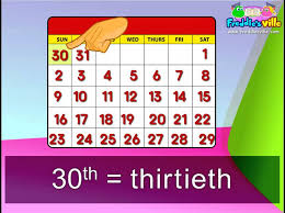 3rd grade months dates ordinal numbers words sentences months
