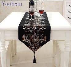 gold table runner and placemats luxury printed table runner cloth cover satin gold black lace flower