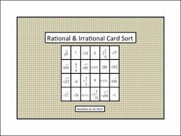 rational irrational card sort and foldable natural number