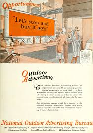 advertising bureau national outdoor advertising bureau 1926 ad opportuneness stop and