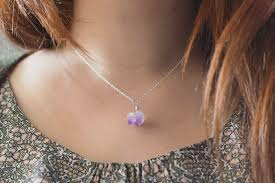 tiny pendant necklace images Amethyst necklace sterling silver raw crystal pendant jpg