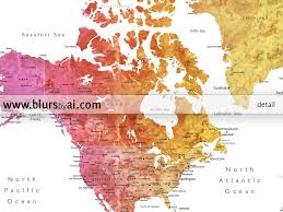 Labeled Us Map Personalized World Map Printable Colorful Gradient Watercolor
