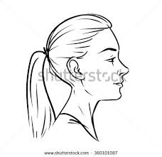 black hair clipart side profile pencil and in color black hair