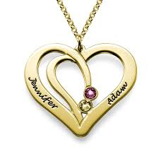 gold necklace with heart images Engraved heart necklace in gold plating jpg