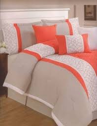 Orange And White Comforter Set Modern Queen Comforter Sets Foter