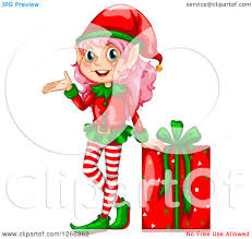 clipart of a presenting female christmas elf by a gift royalty
