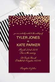 Shop Invitation Card Modern Customizable Maroon And Gold Printable Wedding Invitation