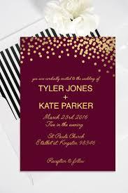 Silver Wedding Invitation Cards Modern Customizable Maroon And Gold Printable Wedding Invitation
