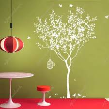 White Tree Wall Decal For Nursery Popdecals Stickers Tree With Bridcage All White