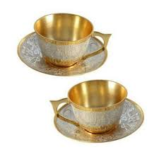 tea cup set brass tea cup plate set kitchen gift item and set s cube