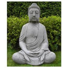 1m high meditating cast buddha garden ornament onefold uk