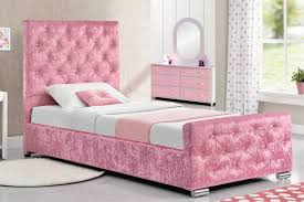 Crushed Velvet Bed Beaumont Crushed Pink Fabric Single Princess Girls Storage Bed