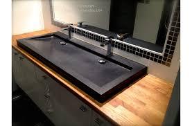 47 black granite double bathroom trough sink yatÉ shadow