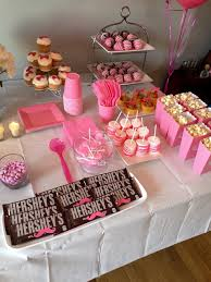 girls side of the snack table gender reveal boy or pink baby
