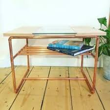 Pipe Coffee Table by White Oak With Walnut Accents And Copper Pipe Coffee Table This