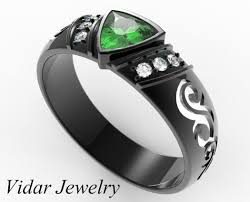 black wedding ring unique trillion cut emerald and diamond men s wedding band vidar
