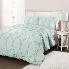 aqua ruffle comforter avon juvy 3 piece comforter set lush decor www lushdecor com