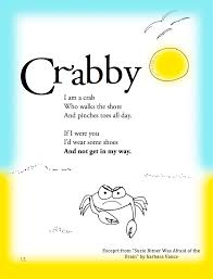funny summer children u0027s poem about a crab on the beach great for