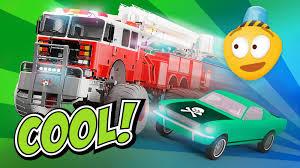 fire trucks monster truck stunt fire brigade u0026 police monster trucks upgrade tuning monster
