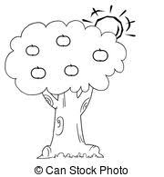apple tree coloring pages vectors of sun behind an apple tree coloring page outline of the