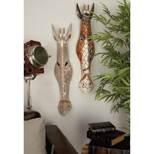 wooden animal wall 39 in x 8 in tribal wooden safari animal wall masks 2 pack