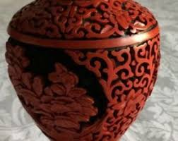 Red Lacquer Vase Lacquer Vase Etsy