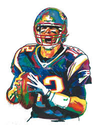 pop abstract oil painting tom brady the new england patriots
