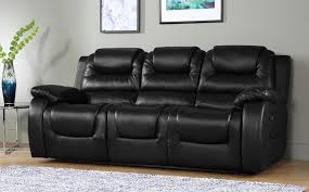 Leather Sofa Vancouver Vancouver 3 Seater Leather Recliner Sofa Black Only 599 99