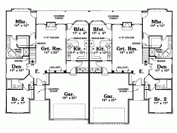 Duplex Plans With Garage Eplans Cottage House Plan Single Level Duplex With Covered Porch