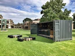 this transportable shipping container bar was manufactured by