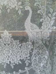 Bird Lace Curtains Vintage Victorian French Country Net Floral Lace Bird Peacock
