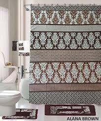 Brown And Blue Bathroom Rugs 18 Bath Rug Set Coffee Brown Teal Blue Print