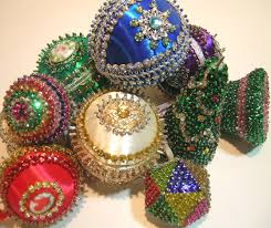 old sequin ornaments by q is for quilter beaded ornaments