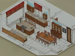 drawn kitchen isometric view pencil and in color drawn kitchen