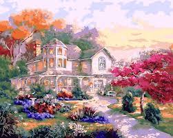 online get cheap house decorating pictures aliexpress com diy paintings by numbers with frame beautiful house home decorative pictures flowers unique craft coloring by