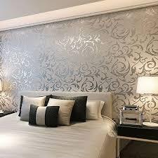 Designer Bedroom Wallpaper Floral Textured Damask Design Glitter Wallpaper For Living Room