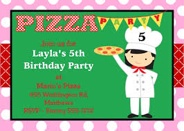 pizza birthday party invitations for girls