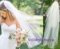 2 tiers fingertip length tulle veil simple blusher tulle veil