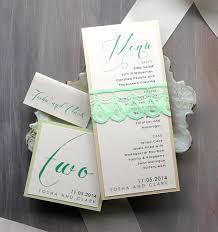 Wedding Invitations With Menu Cards Mintweddinginvitations Mint Script Lace Wedding Menu Cards