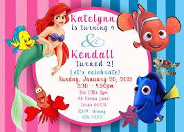 1st Birthday Invitation Cards Designs Custom Photo Invitation Ariel The Little Mermaid U0026 Finding