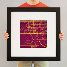 Central Michigan University Map by Central Michigan University Campus Map Art City Prints