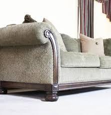 bernhardt new vintages plush olive green rolled arm sofa ebth