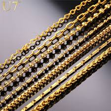 wholesale chain necklace images U7 new fashion necklace chain men women jewelry gold plated jpg