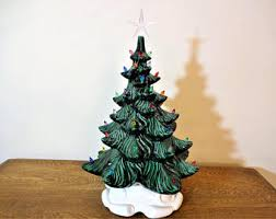 Large Ceramic Christmas Tree Vintage Atlantic Mold Flat Wall Hanging Ceramic Christmas Tree