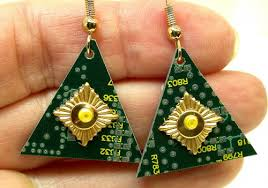 funky earrings recycled circuit board green triangular funky jewelry geekery