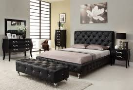 Modern Wood Queen Bed Standard Button Tufting High Headboard Black Queen Bedroom Set