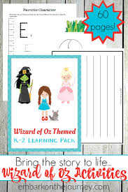 the wizard of oz activities and printables for kids